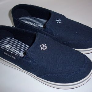 Columbia Canvas Shoes Boys Size 3 Navy Slip Ons
